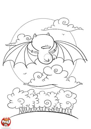 Coloriage: Chauve-souris dans le ciel