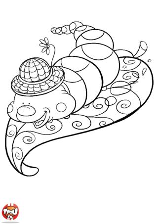 Coloriage: Chenille et son chapeau