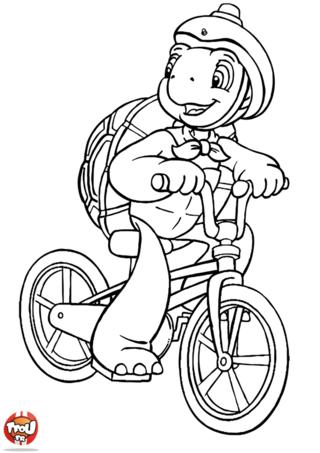 Coloriage: Franklin en vélo