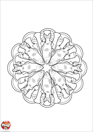 Coloriage: Mandala truite