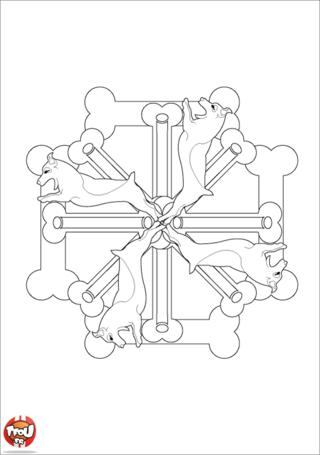 Coloriage: Mandala chien