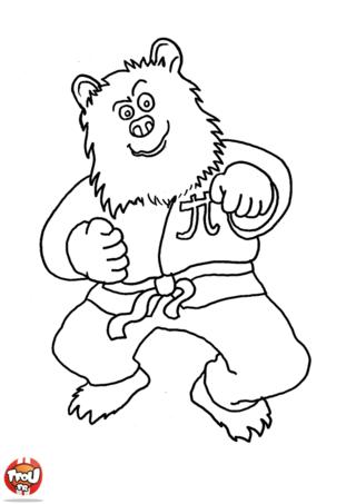 Coloriage: Ours fait du judo