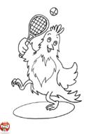Poule joue au tennis