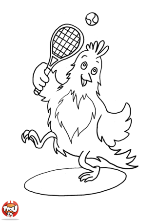 Coloriage: Poule joue au tennis