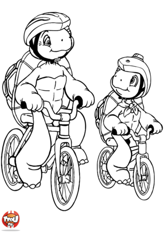 Coloriage: Franklin et son papa en vélo