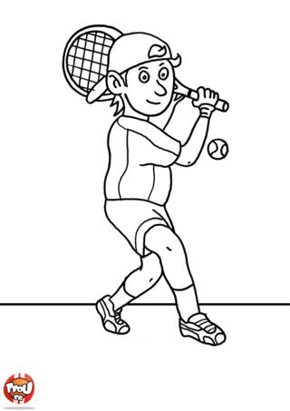 Coloriage: Garçon joue au tennis