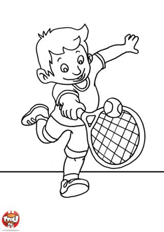 Coloriage: Petit garçon rattrape la balle