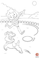 Coloriage-Chien-leo-frisbee