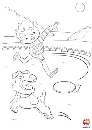 Le chien de Léo est toujours très en forme. Il a besoin de se dépenser en faisant du sport. Léo l'emmène souvent au parc pour le faire courir et jouer avec lui. Son jeu favori est le frisbee. Leo lance le frisbee dans les airs et son petit chien court pour l'attraper. Quelle fierté lorsqu'il arrive à l'attraper et à le rapporter à Léo ! Regarde comme Léo et son chien jouent bien ensemble. A toi de colorier ce tendre coloriage de Léo et son chien. Choisis les plus belles couleurs et colorie ce coloriage gratuit comme tu le souhaites. Imprime aussi plein d'autres coloriages de chien sur TFou.fr.