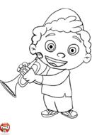 Quincy joue de la trompette