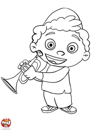 Coloriage: Quincy joue de la trompette