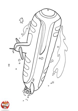 Coloriage: Un gros sous-marin