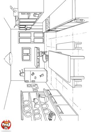 Coloriage: La salle à manger 3