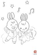 Coloriage-Lapin-danse