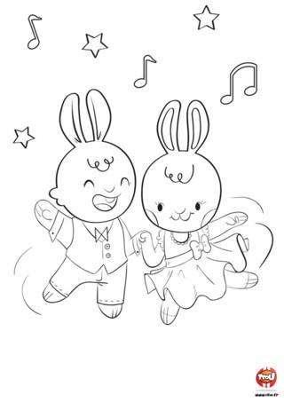 Sais-tu sur quelle musique dansent Sophie et Barnabé? Du rock bien sûr ! Le rythme est très rapide et il faut bien coordonner ses pas ! Mais Sophie et Barnabé savent très bien danser. Chaque semaine, ils choisissent leurs tenus et vont danser. Ils adorent la danse et la musique. Si toi aussi, tu aimes les coloriages de lapin, imprime vite ce coloriage de Sophie et Barnabé sur TFou.fr. Retrouve aussi plein de coloriages