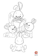 Coloriage-Lapin-famille