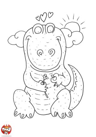 Coloriage: Dinosaure amoureux