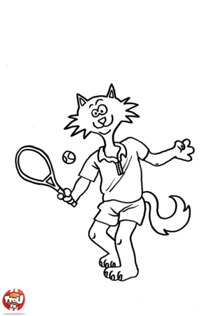 Coloriage: Chat tennisman
