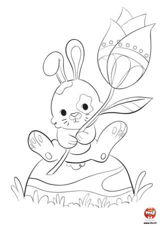 Ce petit lapin t'offre cette jolie tulipe. Toi aussi, colorie ce joli coloriage et offre-le à ta famille ou tes amis. Ils seront ravis de voir que tu penses à eux avec cette jolie fleur. Si tu aimes les lapins, retrouve plein de coloriages gratuits à imprimer sur TFou.fr. Retrouve aussi plein d'autres animaux à imprimer et colorier sur TFou.fr. Sur TFou, tu as le choix !