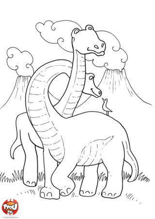Coloriage: Couple de diplodocus