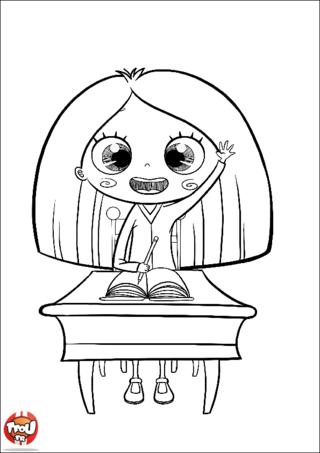 Coloriage: Petite fille qui lève la main