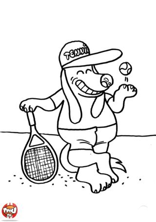 Coloriage: Chien tennisman