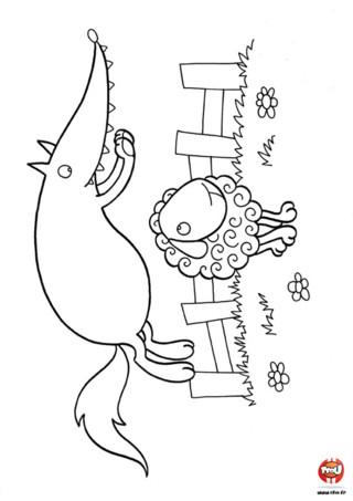 """Coloriage : Le loup et le mouton. As-tu déjà joué à """"saute mouton"""" ? Tu n'es pas le seul, les loup et les moutons jouent, eux aussi, à saute mouton. Imprime vite ce coloriage et ajoute les couleurs de ton choix."""