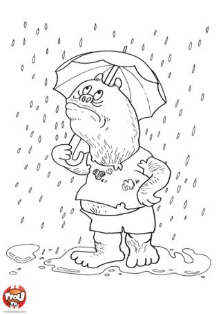 Coloriage: Monstre sous la pluie