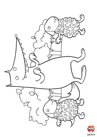 Coloriage : Le loup danse avec les moutons. As-tu déjà vu un loup danser avec des moutons ? Maintenant oui ! Imprime ce coloriage et colorie la danse du loup et des moutons.