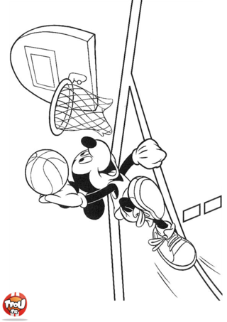 Coloriage: Mickey joue au basket