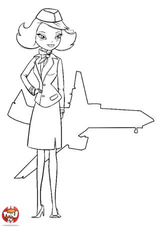 Coloriage: L'hôtesse et l'avion