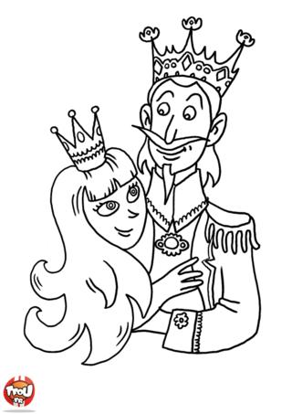 Coloriage: Roi et Reine amoureux