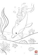 Dauphin et petite fille sous l'eau