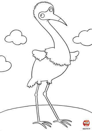 Coloriage : Le gros oiseau. Ce gros oiseau semble réfléchir mais à quoi ? Vite, imprime gratuitement ce coloriage pour colorier cet oiseau avec les couleurs de ton choix.