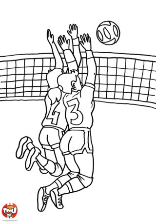 Coloriage: Equipe de volley