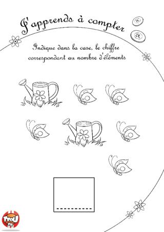 Coloriage: Compte les arrosoirs et les papillons