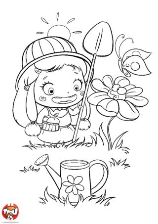 Coloriage: La petite jardinière