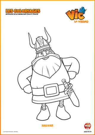 Imprime vite ton coloriage Halvar de ta nouvelle série Vic le Viking. Halvar est le père de Vic le Viking. Il est brave et puissant ...