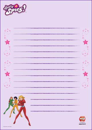 Activité : papier à lettre Totally Spies sur TFou.fr