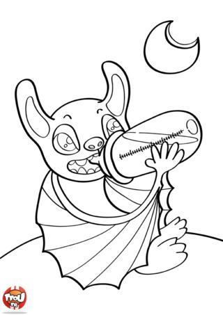 Coloriage: Bébé chauve souris boit au biberon