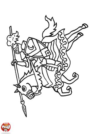 Coloriage: Chevalier sur son cheval