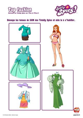 """Activité : Retrouve ton contenu exclusif sur l'épisode """" Totalement Versailles part II """" des Totallly Spies. Imprime vite la silhouette à découper de Sam. D'autres silhouettes de tes Totally Spies t'attendent sur TFou.fr. Découpe vite les vêtements de Sam des Totally Spies et aide là à s'habiller. Change sa tenue au quotidien. En plus, tu trouveras une très belle robe pour l'habiller sur le thème de Versailles. Imprime gratuitement plein d'autres activités des Totally Spies sur TFou.fr."""