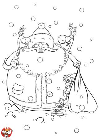 Coloriage: Le Père-Noël et ses rennes