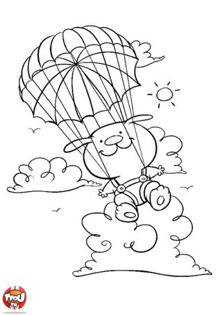Coloriage: Saut en parachute