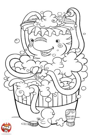 Coloriage: Pieuvre dans son bain