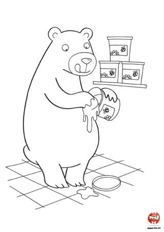 Coloriage : Ours brun et le miel. Qu'il est gourmand cet ours ! Il a langé tout le miel. Imprime vite ce jolie coloriage et ajoute les couleurs de ton choix.