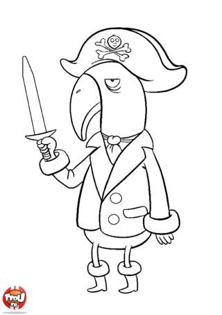 Coloriage: Perroquet pirate avec son sabre