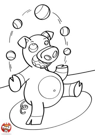 Coloriage: Cochon jongle