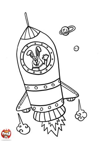 Coloriage: La fusée du lapin astronaute