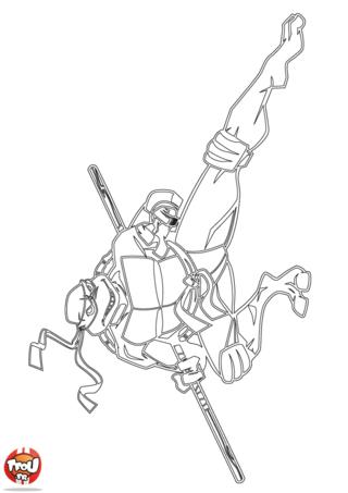 Coloriage: Tortue Ninja combat